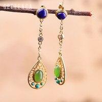 925 Sterling Silver Colour Gemstone Stud Earrings Fine Jewelry Women Vintage Trendy Jasper Lapis Turquoise Long Earring