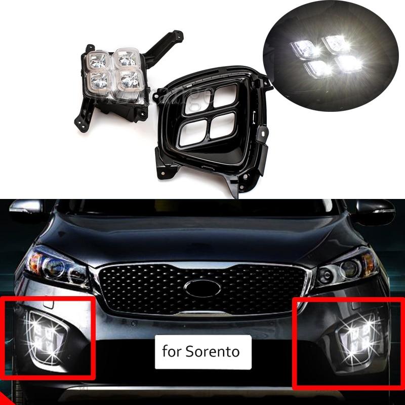 MIZIAUTO 2 шт. Дневной светильник, дневные ходовые огни, светильник s для Kia Sorento 2015 12 В ABS светодиодный DRL Противотуманные фары, крышка, светильник
