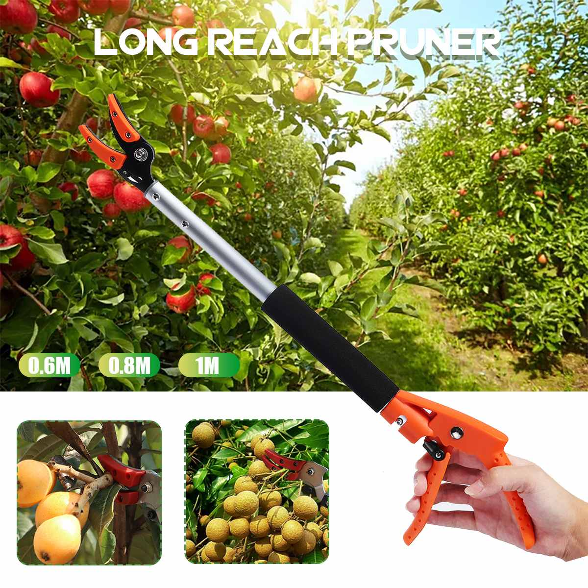 0.6-2M Extra Long Telescopic Pruning and Hold Bypass Pruner Max Cutting 1/2 inch Fruit Picker Tree Cutter Garden Supplies