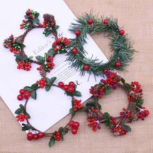 Berry-Flowers Wreaths Christmas-Gift-Supplies Rattan Wax-Table-Decor Artificial Xmas