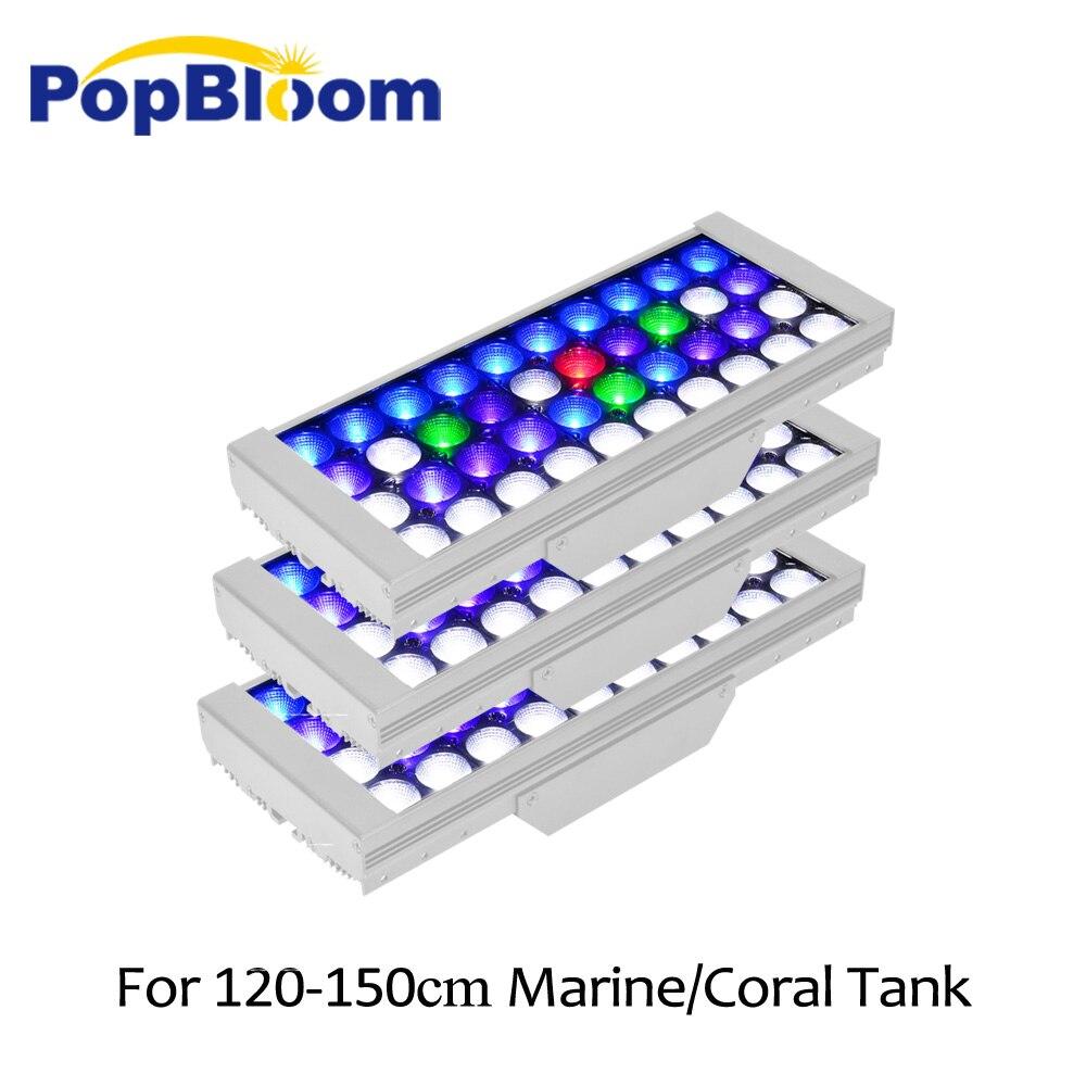 PopBloom lumière led pour aquarium marine a mené des lumières de réservoir de poissons pour la lampe d'aquarium a mené la lumière de récif pour le réservoir marin de 130-150cm