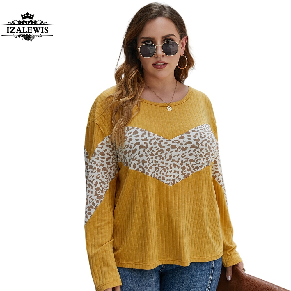 2021 Women New Fashion Spring Autumn Leopard Patchwork O-Neck Long Sleeve Casual Knit Top Blouse T-shirt Lady Tops Knitwear