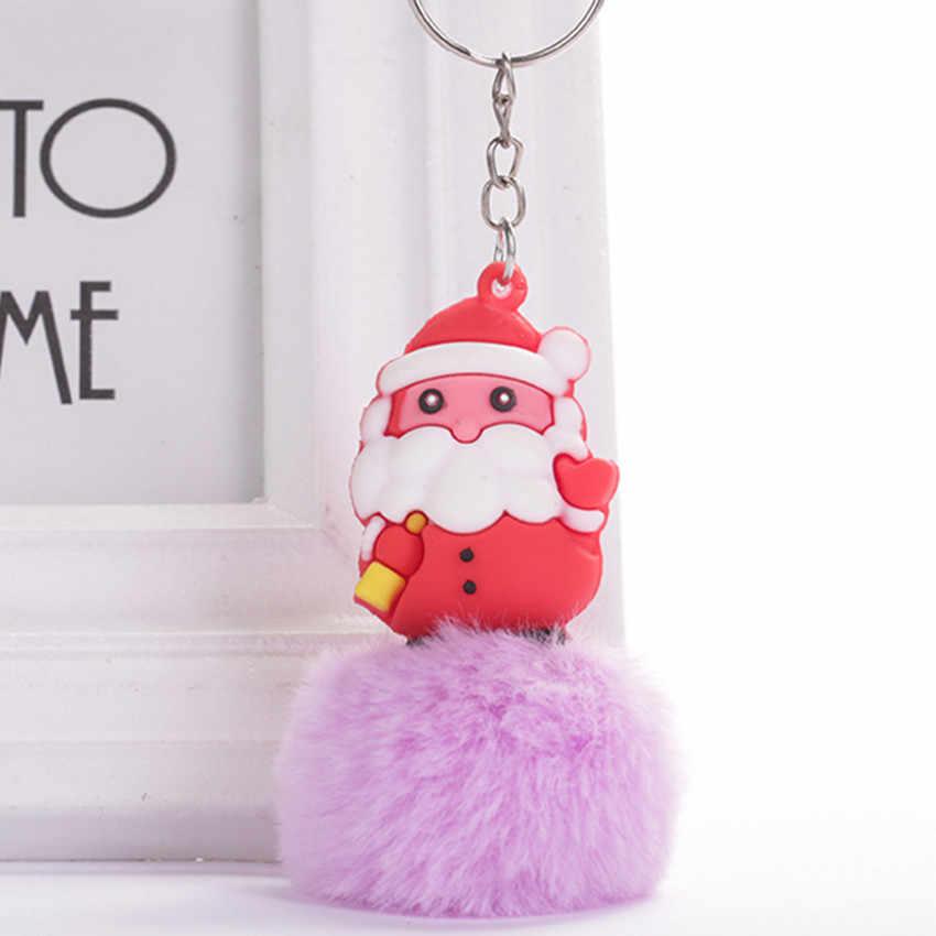 Novo natal papai noel elk bola de cabelo chaveiro pingente de pelúcia saco de couro ornamentos do carro presente de natal jóias acessórios