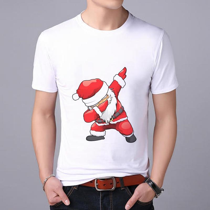 Showtly  Fashion T-shirt Men's Cartoon Santa Claus Short-sleeved Shirt Christmas T-shirt Round Neck Cotton Loose Shirt Men's Tee