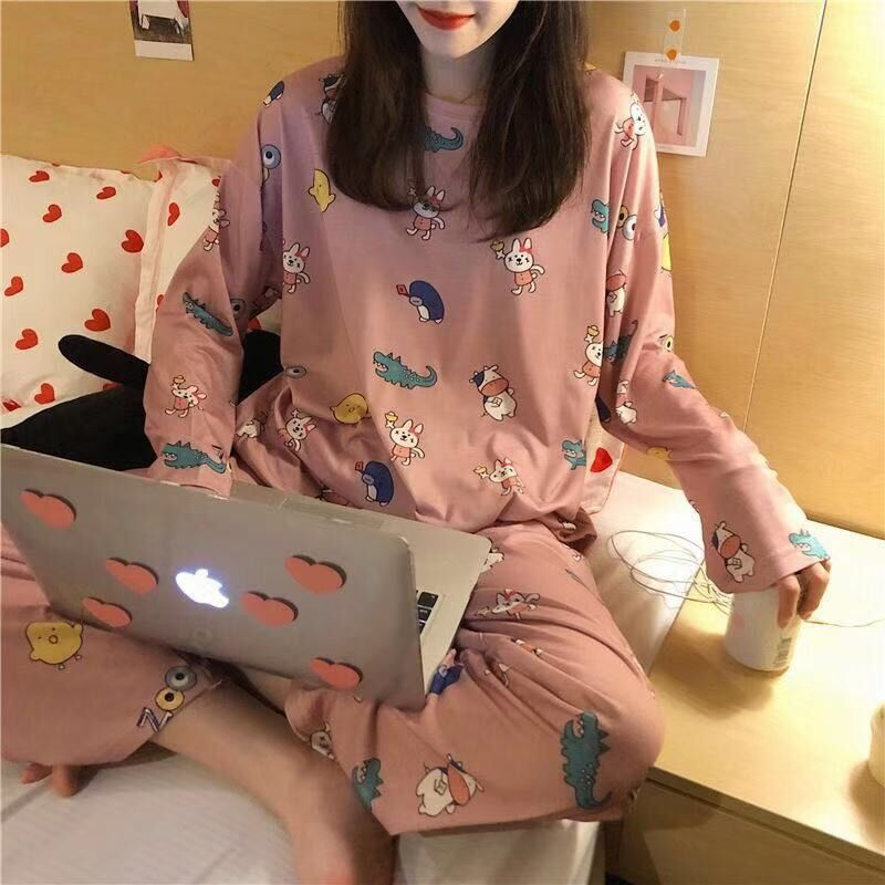 2Pcs Women Pyjamas Set Thin Cartoon Pajamas Set Autumn Winter Girl Soft Long Sleeve Sleepwear Kawaii Cute