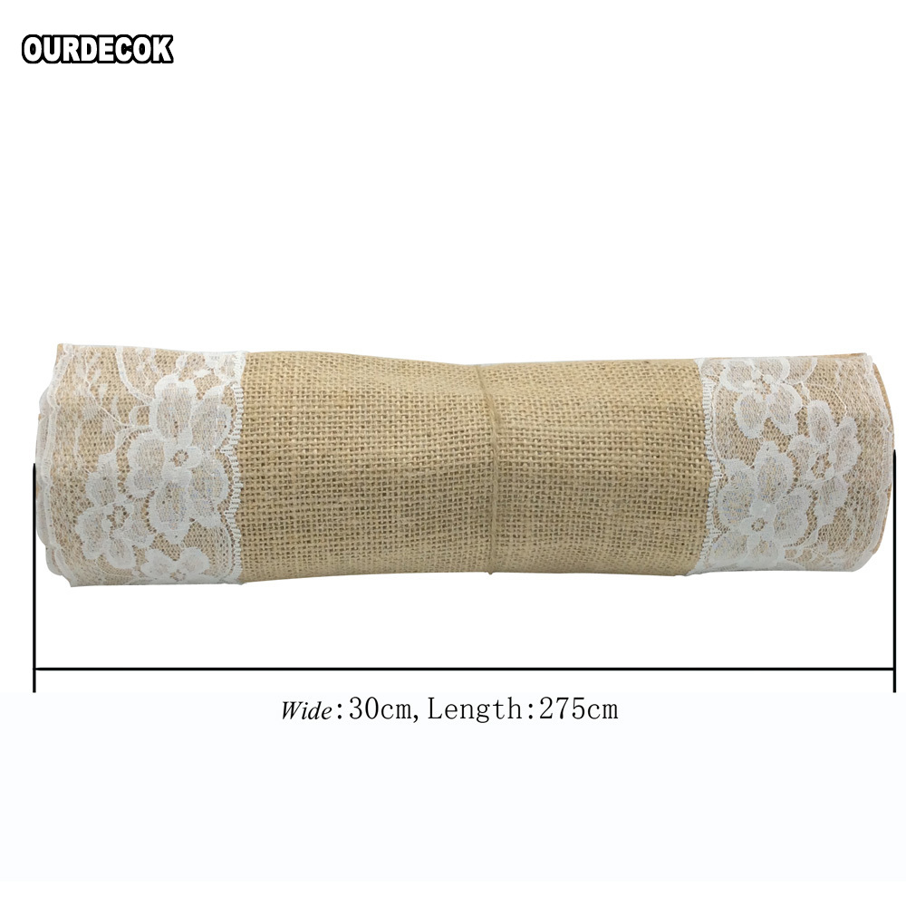 5 ədəd / çox Hessian Jute Krujeva Süfrə Qaçan Təbii Çiçək - Ev tekstil - Fotoqrafiya 4