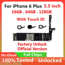 Original For iphone 6 plus 5.5inch unlocked Motherboard IOS System Logic Board Mainboard without / with Touch ID 16GB 64GB 128GB