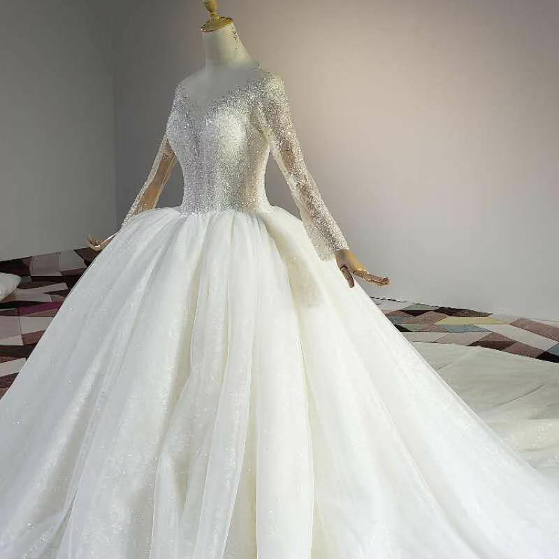 HTL1841 White Sequined Beading Wedding Dress 2020 Long Sleeve Applique Ball Gowns O-Neck Lace Up Back 3