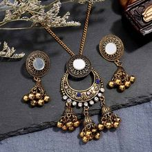 Indian Jewelry Sets For Women Bells Tassel Gold Jhumka Earrings & Necklace Sets Ethnic Tribe Boho Bijoux African Turkish Jewelry(China)