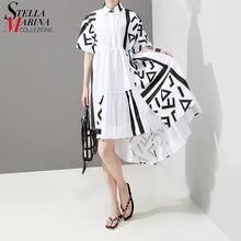 새로운 2020 한국 스타일 여성 여름 세련된 흰색 미디 셔츠 드레스 기하학 인쇄 레이디 플러스 크기 캐주얼 드레스 가운 Femme 5114