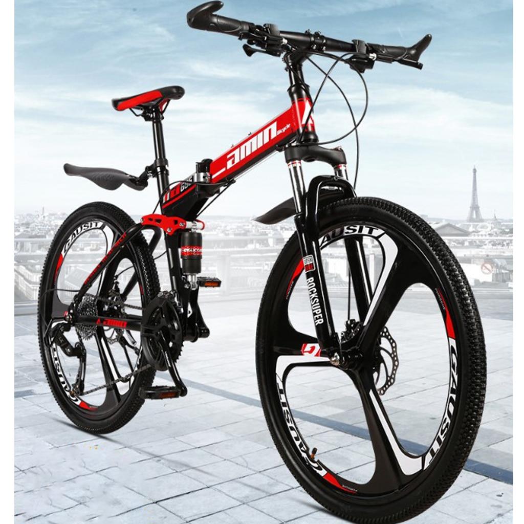 26 inch 21 Speeds Folding Mountain Bikes Adult Women Men Commuting Bicycle  Spoke Wheel/ Integrated Wheel Mountain MTB Bicycles