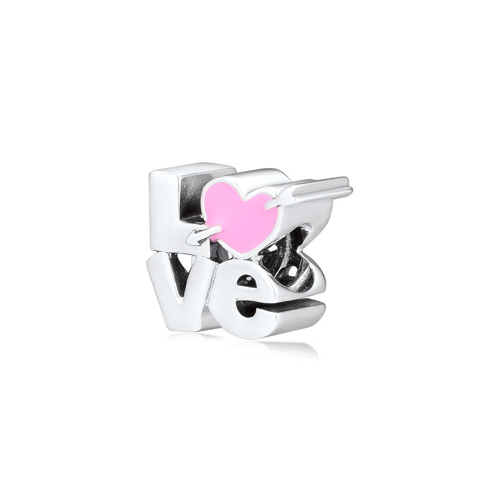 Fandola CKK ורוד אהבת תסריט קסם עם חץ 925 סטרלינג כסף מתאים פנדורה צמיד קסמי להכנת תכשיטים גברת מתנה