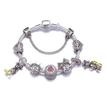 Cute Mickey Mouse Themed Bracelet Bracelets Jewelry New Arrivals Women Jewelry Metal Color: 29 Length: 20cm