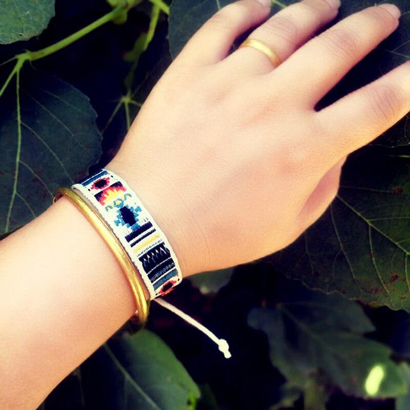 Handmade Ethnic Rope Bracelet For Women Vintage Wide Embroider Woven Charm Bracelet Men Jewelry