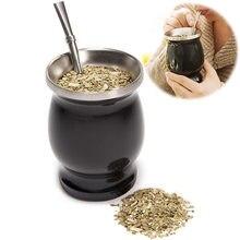 Yerba Mate doğal kabak çay bardağı seti 8 ons paslanmaz çelik Mate çay bardağı çift duvarlı fincan kolay temiz Bombillas çay bardağı seti