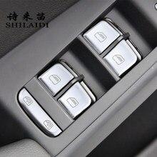 Araba Styling için Audi A4 B8 S4 A5 S5 RS4 iç kapı pencere camı anahtarı düğmeler çerçeve çıkartmalar kapakları Trim oto aksesuarları