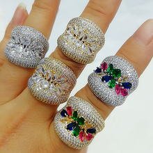 GODKI Luxury Trendy Bold Statement Rings with Zirconia Stones 2020 Women Engagement Party Jewelry High Quality