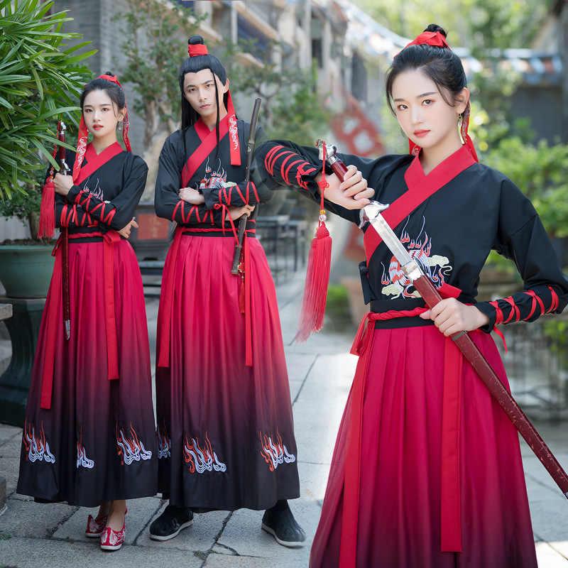 เย็บปักถักร้อย Hanfu แบบดั้งเดิมเครื่องแต่งกายผู้หญิงผู้ชายเทศกาลพื้นบ้านชุดเครน Fairy ชุด RAVE เสื้อผ้า DC3457