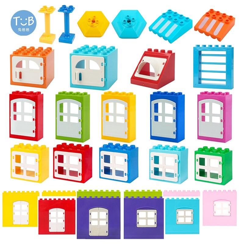 Большие строительные блоки для массовых грузов сцены модель бытового двери, окна настенные аксессуары, совместимые с кирпичные игрушки