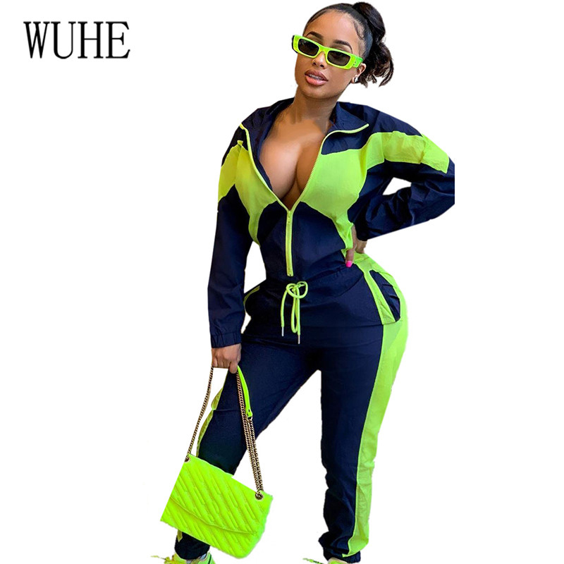 WUHE Casual Splicing Zipper Sports Tracksuit Sexy Two Pieces Sets Long Sleeve Leisure Autumn 2 Piece Club Outfits Matching
