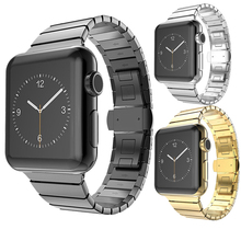 Luxury watchband metal straps For Apple watch band 38mm stainless steel Link bracelet  butterfly loop new arrival luxury 316l watchband straps band metal 42mm link for apple watch stainless steel bracelet 38mm butterfly loop black gold silver