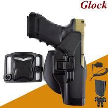 Glock-funda de pistola Airsoft, 17, 19, 22, 23, 31, 32, funda de pistola, mano derecha, pistolera cinturón cintura + eslinga MOLLE, bolsa de plataforma Mag