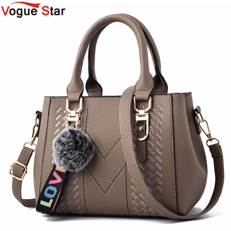 Embroidery Messenger Bags Women Leather Handbags Bags For Women 2020 Sac A Main Ladies Hair Ball Hand Bag L168