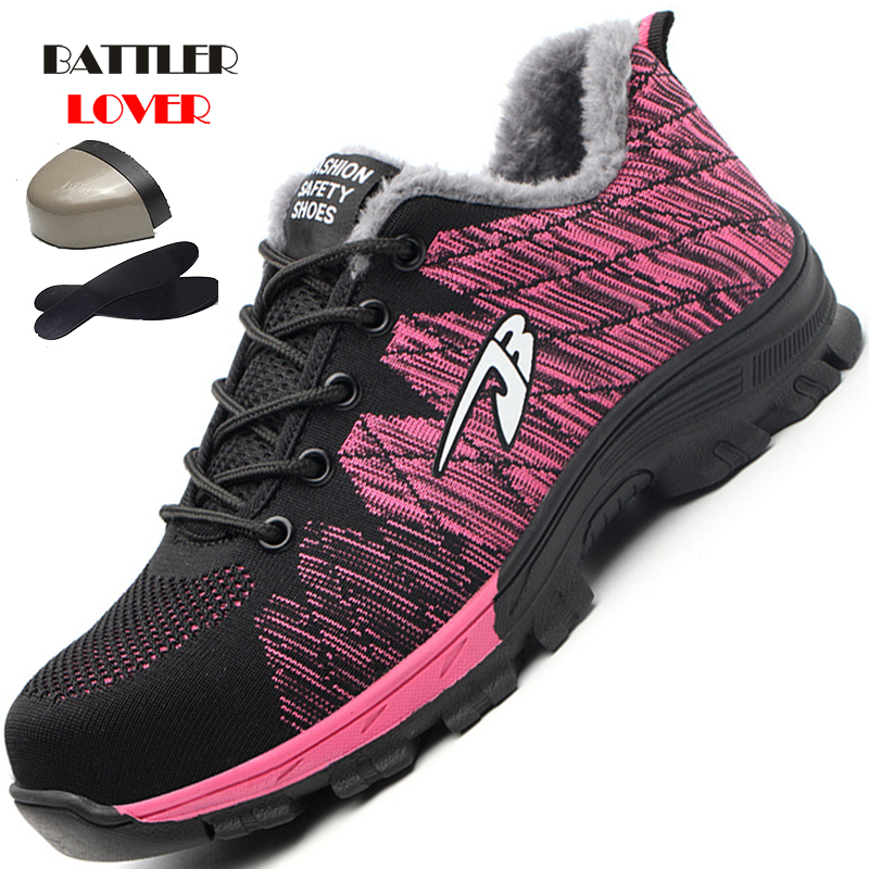 unisex work shoes steel toe cap women men work & safety boots steel mid sole impact resistant soft female shoes plus size 35-48