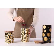 Ceramic Wood Lid Storage Bottle Jar Kitchen Food Coffee Tea Pot Seasoning Sealed Desktop Decor Container Articulos De Cocina