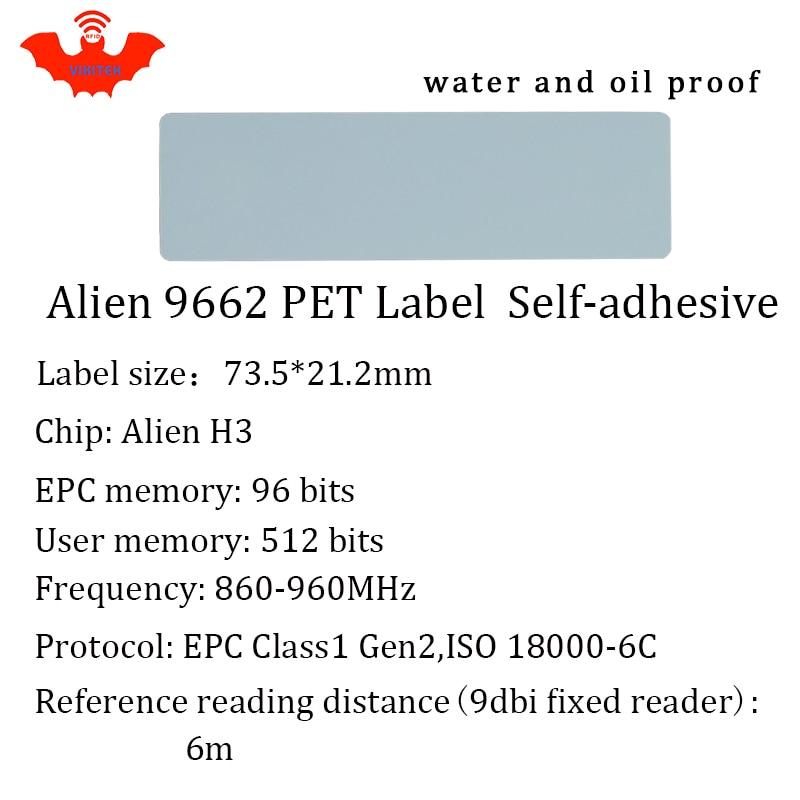 Купить с кэшбэком UHF RFID tag Alien 9662 printable PET label 915mhz 900mhz 868mhz 860-960MHZ Higgs3 EPCC1G2 6C smart card passive RFID tags label