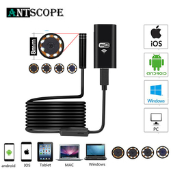 Antscope 8mm Wifi Endoscope HD caméra pour Android iPhone Endoscope 2 5 10M 1200P Endoscope tuyau d'inspection étanche caméra 19