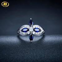 Hutang Engagement Wedding Ring Blue Sapphire Solid 925 Sterling Silver synthetic Stone Fine Jewelry For Women Gift New