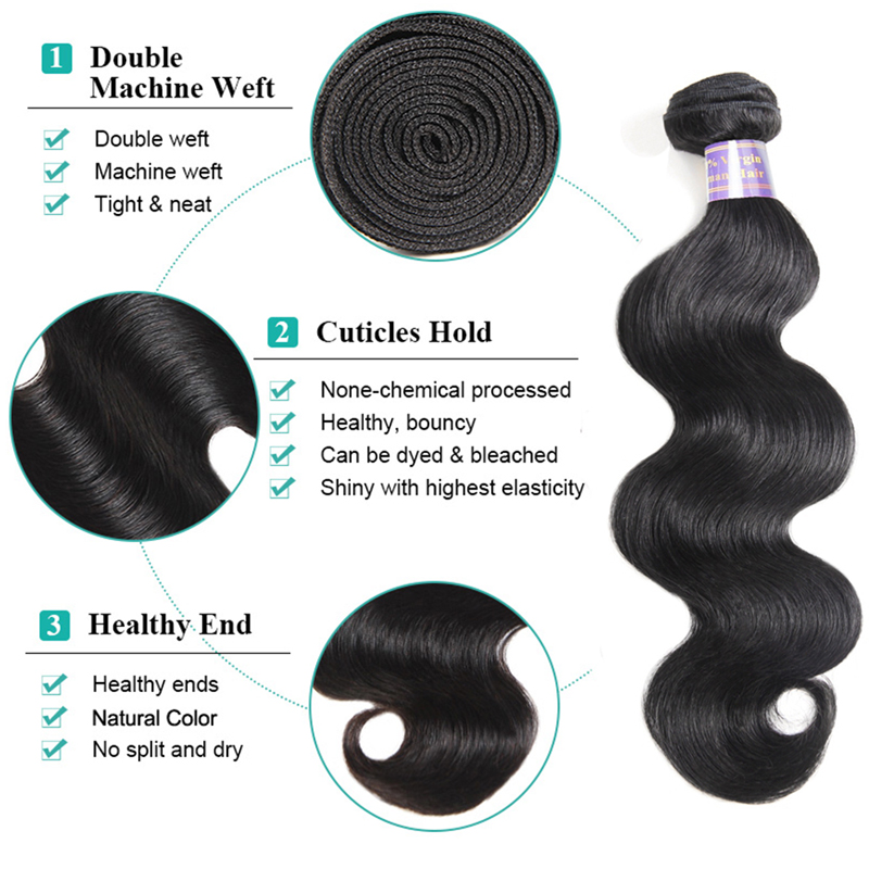 Allove 3 Bundles Body Wave Hair Bundles 8-28inch Malaysian Hair Weave Bundles Natural Human Hair Bundles Extensions Non Remy