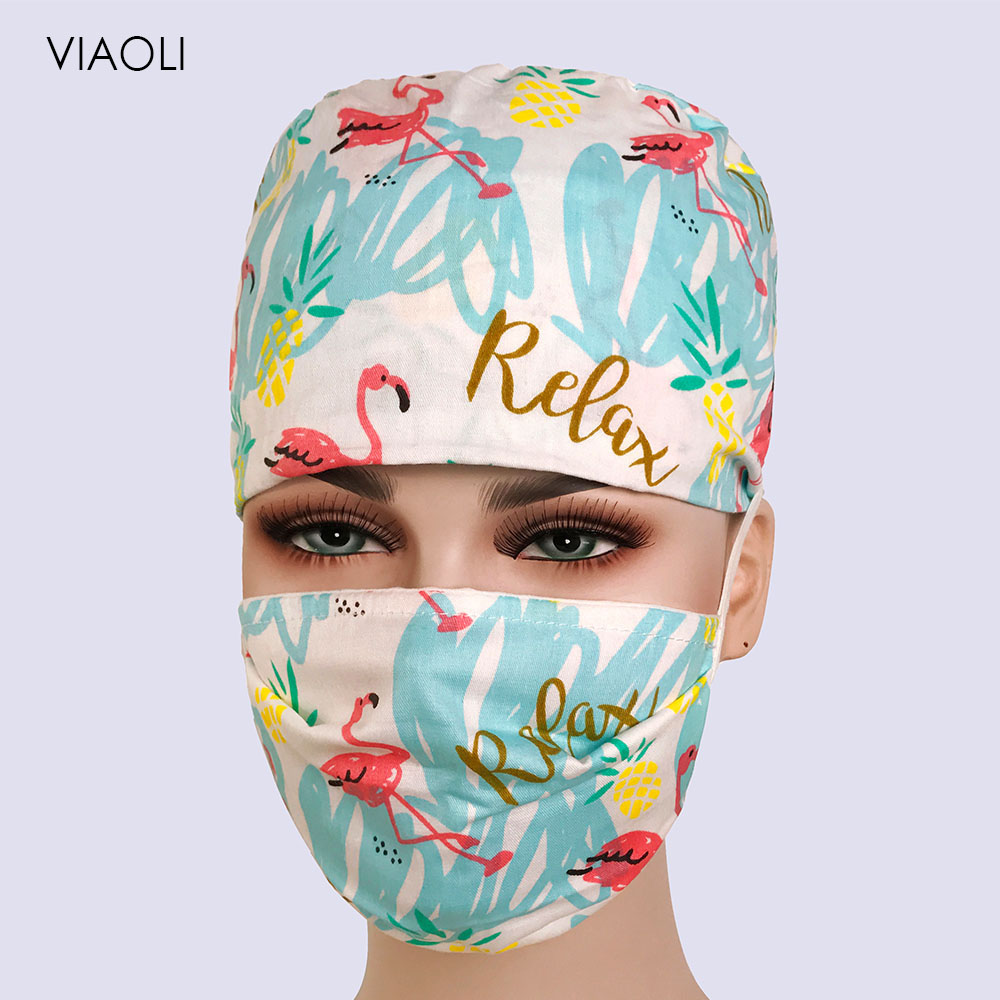 Unisex Cotton Breathable Print Adjustable Pet Hospital Work Hats Surgical Caps Doctor Nurse Caps Beauty Pharmacy Hats And Masks