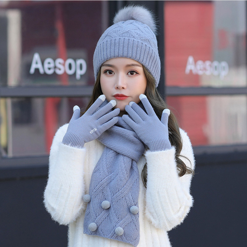 Fur Ball Winter Hat And Scarf Set For Women Kitted Long Scarves Girls Keep Warm Unisex Winter Hat Scarves Set Gloves Touch