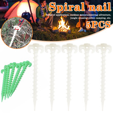 5 pcs/set Luminous Camping Canopy Tent Ground Screw Pegs Horn Nails Outdoor Climbing Plastic Accessories