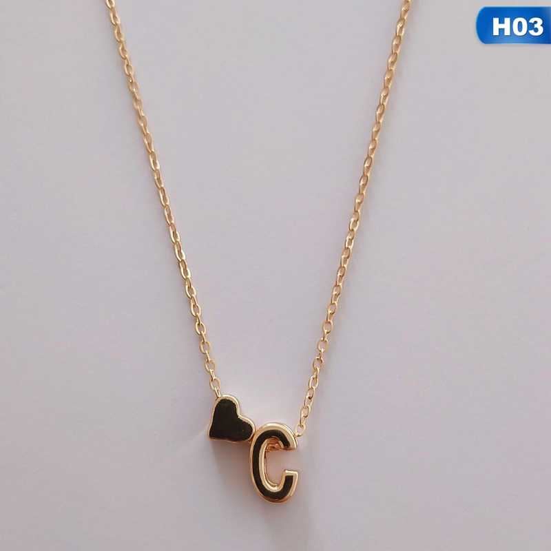 Simple Gold Color Initial Necklace A-Z 26pcs Letters Heart Shaped Necklace Personalized Pendant For Women Girls Birthday Gift