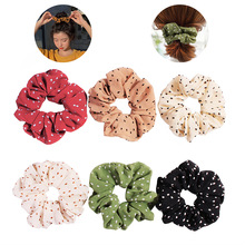 New Women Solid Color Dot Elastic Hair Bands For Korean Sweet Simple 6 Sports Dance Scrunchie Girls Accessories