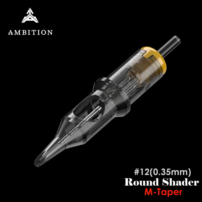 Ambition Tattoo Cartridge Round Shader #12 (0.35mm) Stable Premium Fine Tattoo Cartridge Needles For Tattoo Supply 1207RS