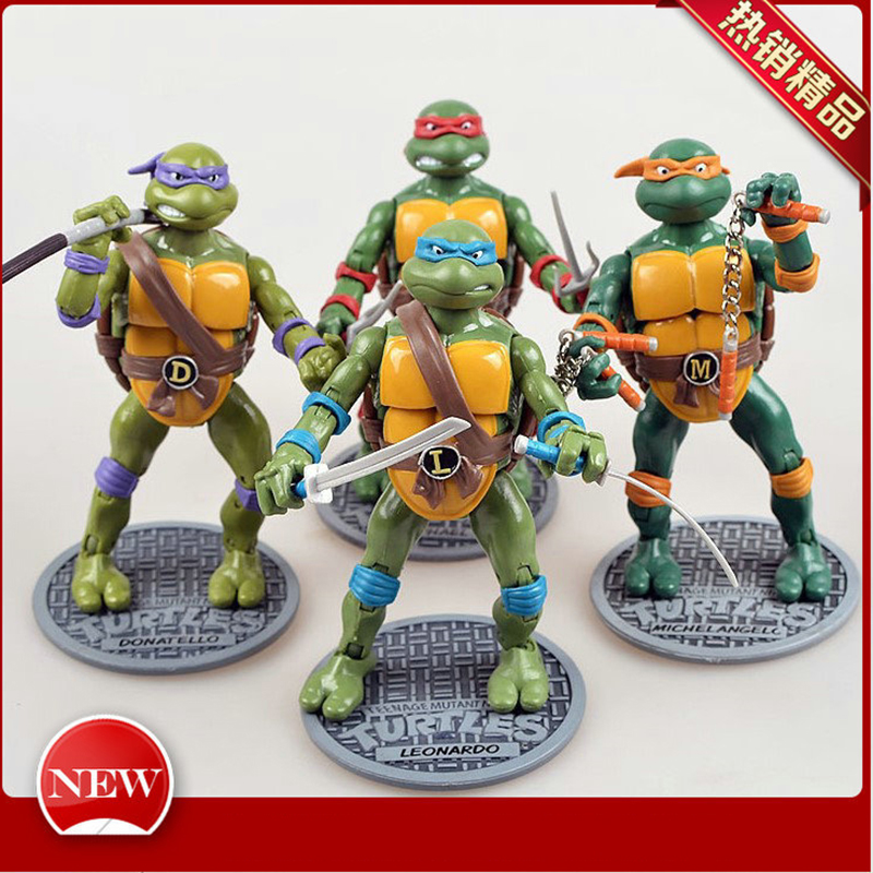 4pcs/set  2012's Turtle Model Ninja Action Figures Toy Classic Cartoon Model Collection New Year Kid's Gift