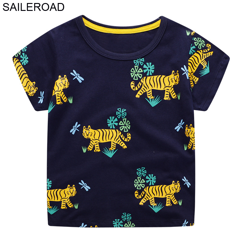SAILEROAD Animal Tiger Baby Boys Tops Tees Shirts 2020 Summer New Children T-shirts For Kids Short Sleeve Clothes Baby Clothing