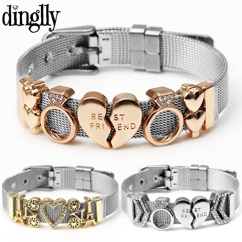 Silver Color Stainless Steel Mesh Watch Belt Bracelets For Women Men Couple Rose Gold Lover Heart Charm Bracelet Bangle(China)