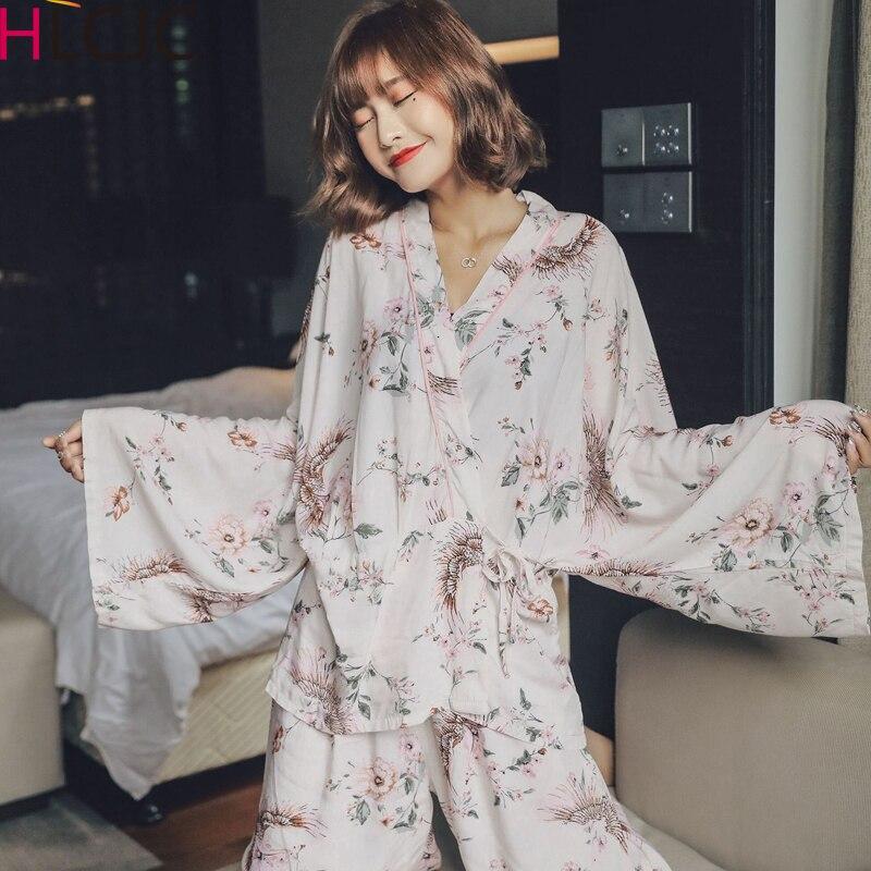 2020 New Spring Summer Women Cotton Pajamas Set Flowers Kimono Shirt + Pants Pajamas Sleepwear Thin Pyjamas Home Clothing Pijama