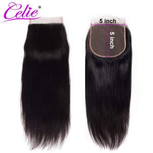 Image 1 - Celie Hair Brazilian Straight 5x5 Lace Closure Free/Middle Part 150% Density Natural Black Color Remy Human Hair Closure