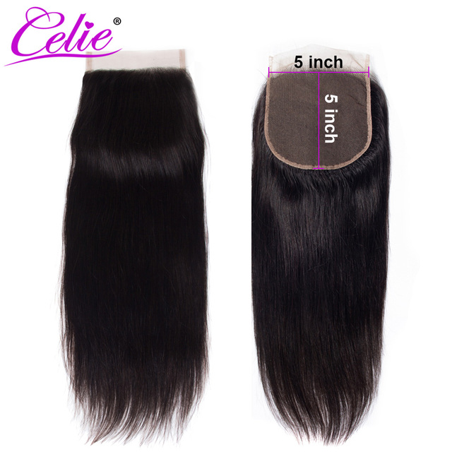 Celie Hair Brazilian Straight 5x5 Lace Closure Free/Middle Part 150% Density Natural Black Color Remy Human Hair Closure