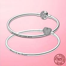 Pulseira 925 Sterling Silver Bracelet Femme Snowflake Heart Zircon Clasp Femme Snake Chain Bracelets & Bangles Women Jewelry