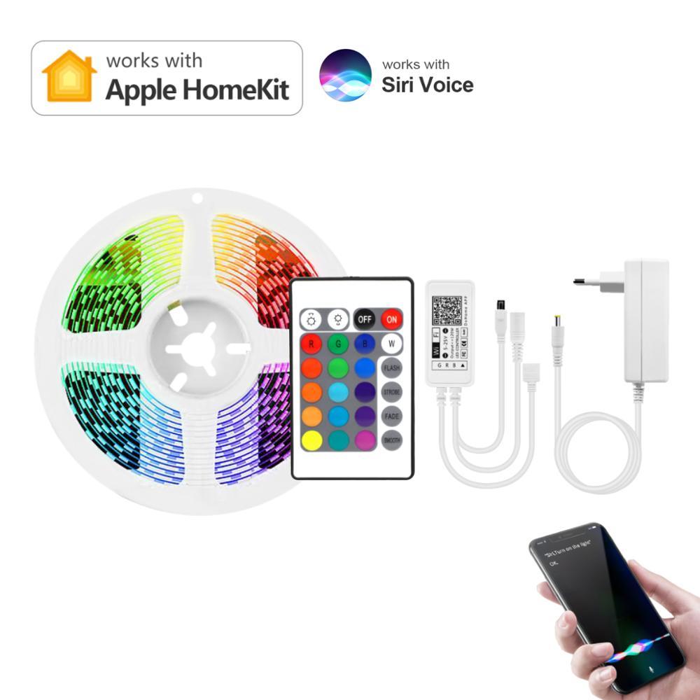 Apple Homekit умная Светодиодная лента RGB 12V, Wi-Fi, светодиодный светильник полосы Диодная лента ТВ Подсветка светильник Alexa/Google Home функция голосово...