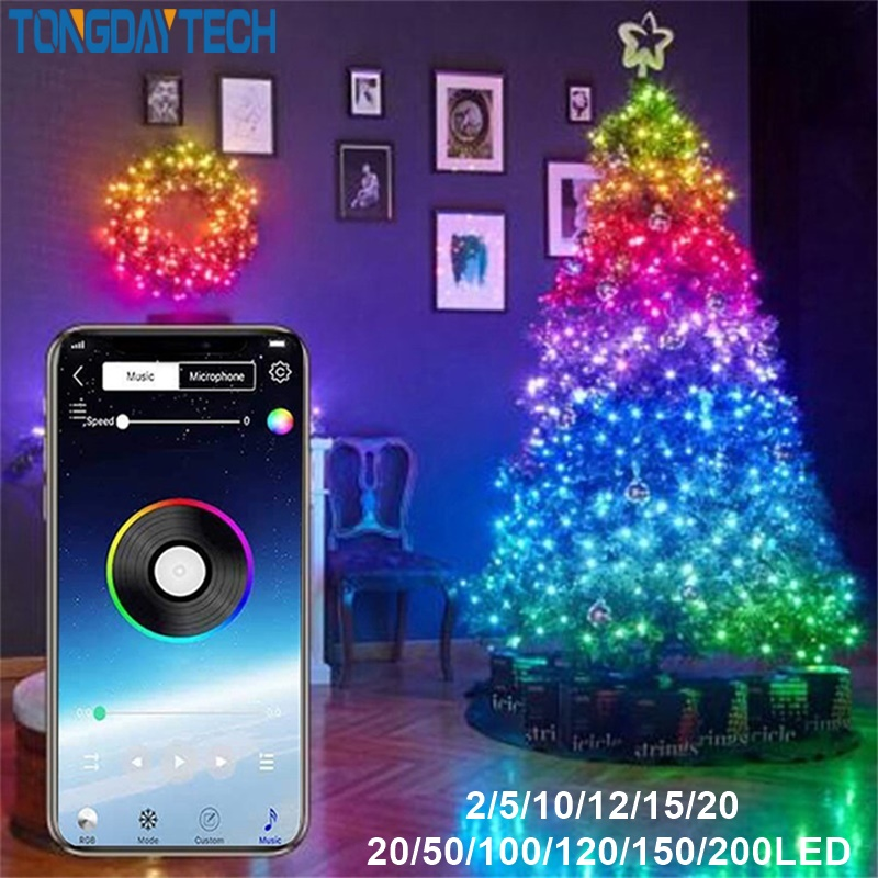 Tongdaytech гирлянды светодиодные светильник Bluetooth App Управление строка светильник s Водонепроницаемый для создания сказочной атмосферы на откр...