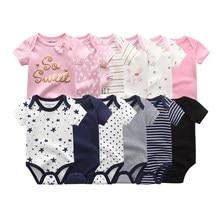 2021 roupas da menina do bebê 6 pçs algodão de manga curta recém-nascidos meninas roupas do bebê bodysuit bebê menino dos desenhos animados imprimir ropa bebe