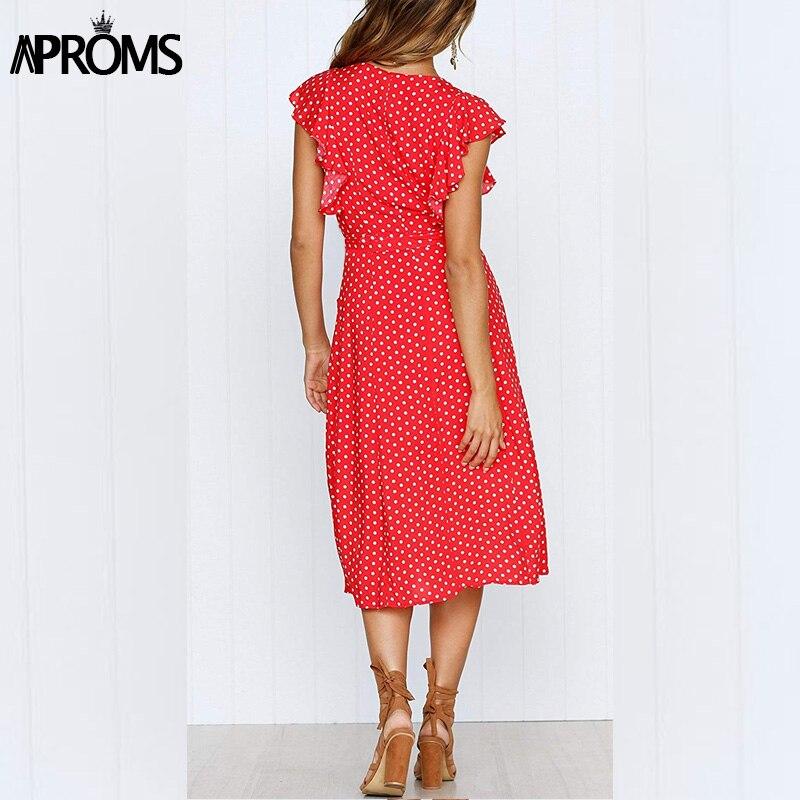 Aproms Boho Polka Dot Print Dress Women Casual Sleeveless V Neck Red Sundress Midi Dress female Beach A-line Dress Vestidos 2020 1